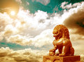 Chinese imperial lion statue at sunset Stock Image