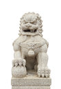 Chinese imperial lion statue on white background clipping path Royalty Free Stock Photos