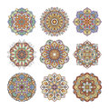 Chinese and indian floral pattern. Color indian mandalas set. Yoga illustrations isolate on white background