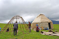 Chinese kazakh people construction yurts located in xinjiang china Stock Photography