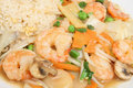 Chinese King Prawns with Seasonal Vegetables Stock Images