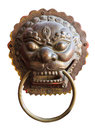 Chinese knob old door knocker of golden lion on isolated white background with cliipping path Royalty Free Stock Images