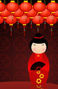 Chinese kokeshi doll illustration of Royalty Free Stock Photography