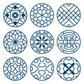 Chinese, korean traditional vector repeat symbols, bathroom decoration set Royalty Free Stock Photo