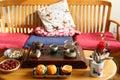 Chinese kungfu tea,Chinese lifestyle, drinking tea scene Royalty Free Stock Photo