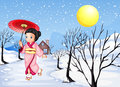 A chinese lady walking under the snow illustration of Royalty Free Stock Photography