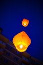 The Chinese lanterns fly up highly in the sky. Royalty Free Stock Photo