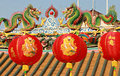 Chinese Lanterns in front of a Buddhist Temple in Bangkok Royalty Free Stock Photo