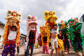 Chinese lion dance also known as the light and more performances at festivals and festive activities lions in the Royalty Free Stock Photography