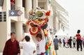 Chinese lion dance groep onderhoudende mensen f bahrein Stock Foto's