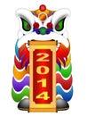 Chinese lion dance head mit rolle des neuen jahr Lizenzfreies Stockbild