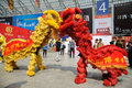 Chinese lion dancing the th china food and drinks fair chengdu march th th Stock Photo