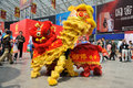 Chinese lion dancing the th china food and drinks fair chengdu march th th Stock Photos