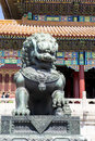 Chinese Lion In Front Of Templ...