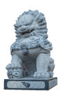 Chinese lion statue isolated on white with clipping path Royalty Free Stock Photo