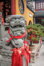 Chinese lion statue in a Temple - Shanghai, China Royalty Free Stock Photo