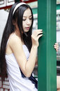 Chinese long-haired girl outdoor Stock Images