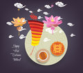 Chinese lotus lantern festival. Mid autumn full moon, cake and tea Royalty Free Stock Photo