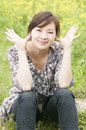 Chinese lovely girl laughing Royalty Free Stock Photo