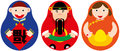 Chinese luck russian doll set middle is god of wealth in Royalty Free Stock Images