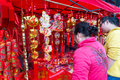 Chinese lunar new year decorations is the of horse in china this picture shows people buys spring festival in a market in liuzhou Royalty Free Stock Photo
