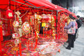 Chinese lunar new year decorations is the of horse in china this picture shows people buys spring festival in a market in liuzhou Stock Images