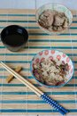 Chinese lunch set with rice and dusck meat, tea Royalty Free Stock Photo