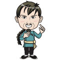 Chinese male character pigtail hair style wearing kungfu suit standing smiling drawing cartoon comic character Royalty Free Stock Photos