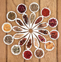 Chinese medicine sampler large herbal selection in white porcelain dishes over oak background Stock Photography