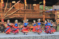 The chinese miao dancing yong women and men in village or villages of thousands of house holds in xijiang kaili guizhou Royalty Free Stock Image