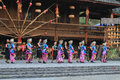 The chinese miao dancing yong women and men in village or villages of thousands of house holds in xijiang kaili guizhou Stock Photography