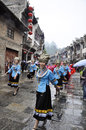 Chinese miao nationality girls wearing silver ornaments guizhou province Royalty Free Stock Photos