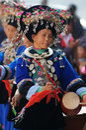 Chinese Miao nationality woman dancing Royalty Free Stock Photo