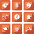 Chinese mid autumn festival icon set design Stock Images