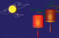 Chinese mid autumn festival vector illustration with lanterns can be used as greeting card Royalty Free Stock Image