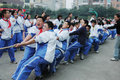 Chinese middle school Tug of war competition Stock Image