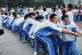 Chinese middle school Tug of war competition Royalty Free Stock Photography