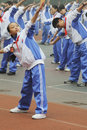 Chinese middle students do morning exercises Royalty Free Stock Photography