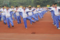 Chinese middle students do morning exercises Royalty Free Stock Image