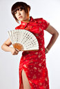 Chinese model in traditional Cheongsam dress
