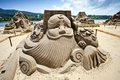 Chinese money god sand sculpture Royalty Free Stock Image
