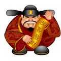 Chinese Money God Wishing Happiness and Wealth Royalty Free Stock Photo