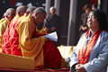 Chinese monks reading scripture in pray event Royalty Free Stock Photo