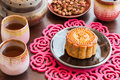 Chinese moon cake with rose tea is the traditional dessert for festival Stock Image