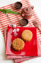 Chinese moon cake with traditional tea Stock Photography