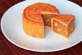 Chinese moon cake on white dish tradition the pattern on is not a logo or trademark Stock Photos