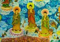 Chinese mural on temple wall thailand Royalty Free Stock Images