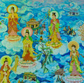 Chinese mural on temple wall thailand Royalty Free Stock Photo