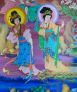 Chinese mural on temple wall thailand Stock Images