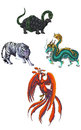 Chinese mythical creature gods called shijin which consist of dragon tiger turtle and phoenix Royalty Free Stock Photo